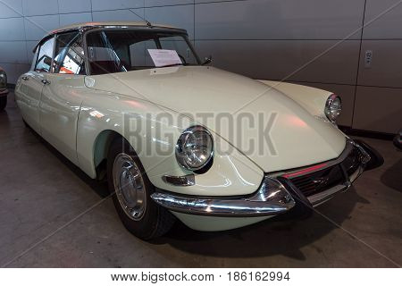 STUTTGART GERMANY - MARCH 02 2017: Mid-size luxury car Citroen DS19 1967. Europe's greatest classic car exhibition