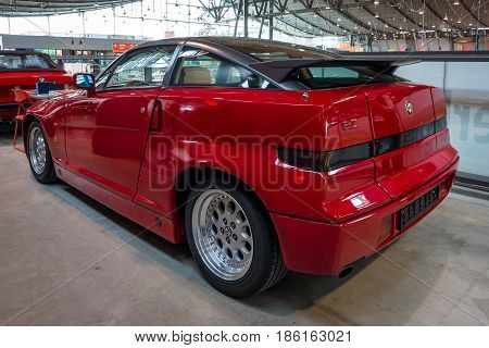 STUTTGART GERMANY - MARCH 02 2017: Sports car Alfa Romeo SZ (Sprint Zagato) or ES-30 1991. Rear view. Europe's greatest classic car exhibition
