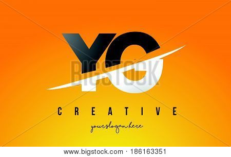 Yg Y G Letter Modern Logo Design With Yellow Background And Swoosh.