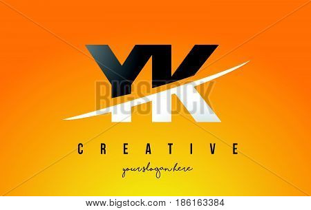 Yk Y K Letter Modern Logo Design With Yellow Background And Swoosh.