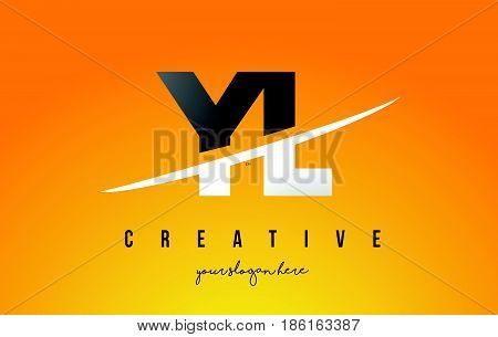 Yl Y L Letter Modern Logo Design With Yellow Background And Swoosh.