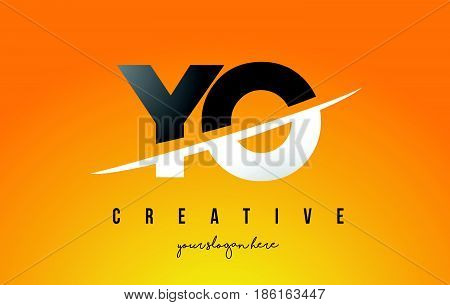 Yo Y O Letter Modern Logo Design With Yellow Background And Swoosh.