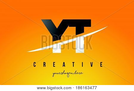 Yt Y T Letter Modern Logo Design With Yellow Background And Swoosh.
