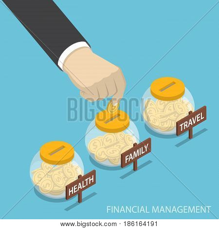 Isometric Businessman Hand Put Coin Into Family, Health, Travel Bottle