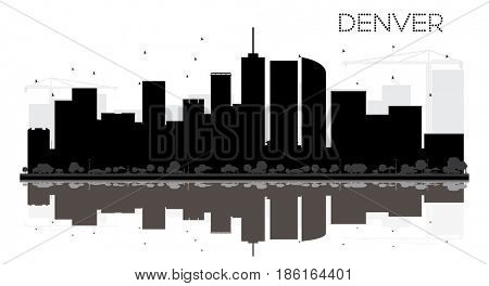 Denver City skyline black and white silhouette with reflections. Simple flat concept for tourism presentation, banner, placard or web site. Cityscape with landmarks.
