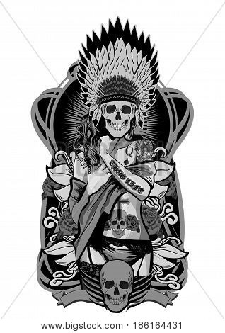 Native American girl with skulls headdress. Vector illustration.