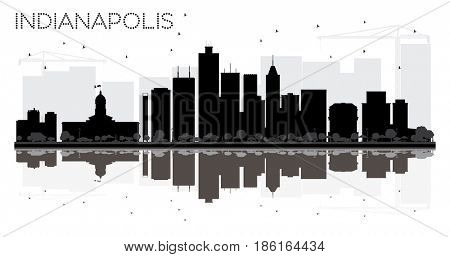 Indianapolis City skyline black and white silhouette with reflections. Simple flat concept for tourism presentation, banner, placard or web site. Cityscape with landmarks.