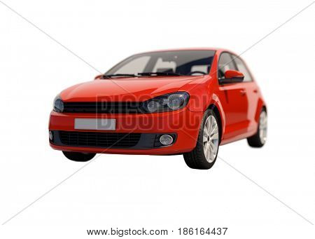 3d render: Model Compact Car on White