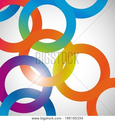 Rainbow loops chain, abstract background, design shape.