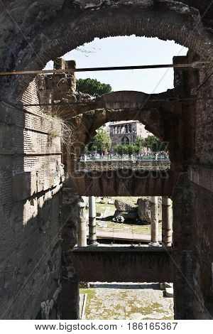 Rome, Italy - March 12, 2017: View on Coliseum. It construction started in 72 AD under emperor Vespasian and was completed in 80 AD , in Rome, Italy