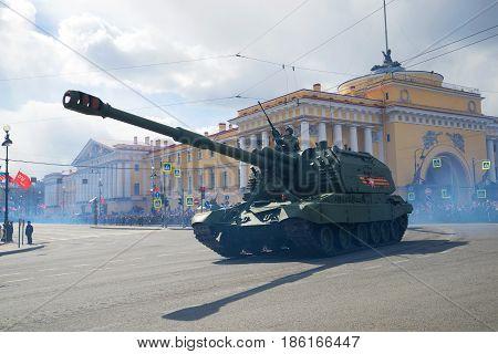 SAINT PETERSBURG, RUSSIA - MAY 09, 2017: Heavy self-propelled artillery