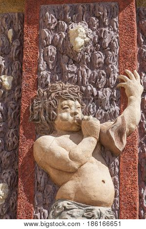 Troja Palace; relief on surrounding wall, Prague, Czech Republic