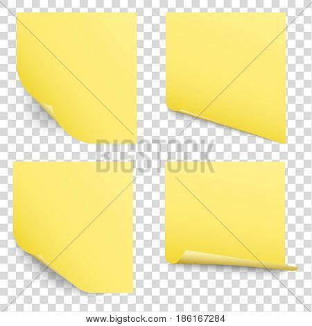 yellow sticky reminder notes vector set office papers with page curl