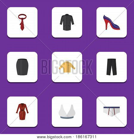 Flat Dress Set Of Heeled Shoe, Uniform, Underclothes And Other Vector Objects. Also Includes Garment, Shirt, Clothes Elements.