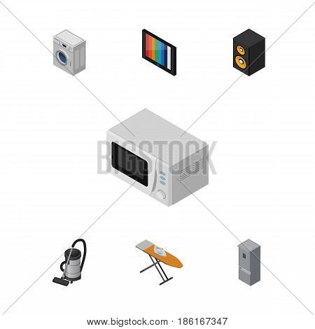 Isometric Device Set Of Vac, Microwave, Laundry And Other Vector Objects. Also Includes Laundry, Vacuum, Kitchen Elements.