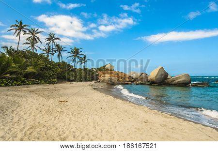 Arrecifes Beach in Tayrona national park Colombia