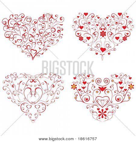 Four different valentine hearts