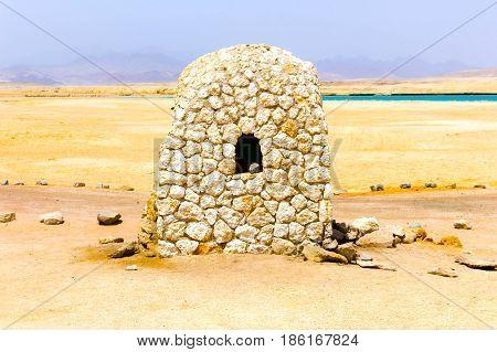 The mud brick house at Ras Muhammad National Park at Egypt