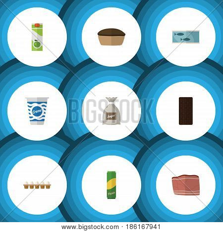 Flat Cooking Set Of Beef, Confection, Eggshell Box And Other Vector Objects. Also Includes Custard, Canned, Bag Elements.