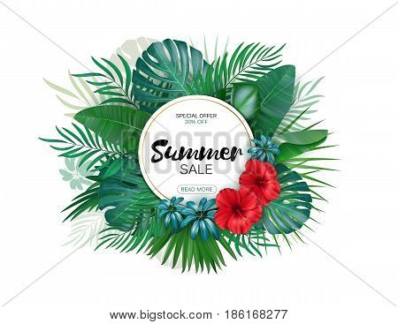 Sale. Round summer sale tropical leaves freme. Tropical flowers, leaves and plants background