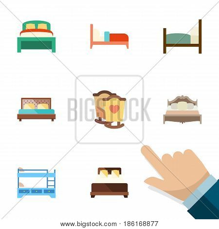Flat  Set Of Bearings, Crib, Furniture And Other Vector Objects. Also Includes Bedding, Bearings, Crib Elements.