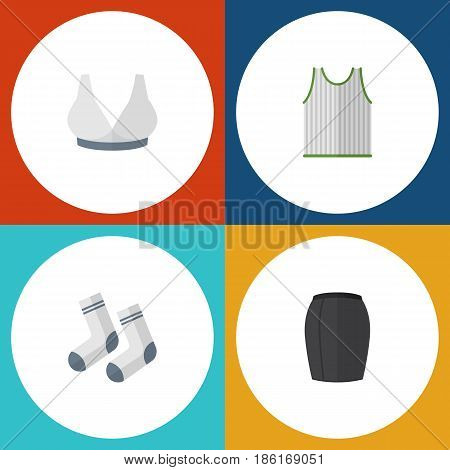 Flat Garment Set Of Brasserie, Foot Textile, Stylish Apparel And Other Vector Objects. Also Includes Socks, Woman, Skirt Elements.
