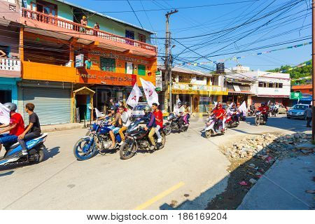 Nepal 2017 Elections Maoist Party Motorcycles Flag