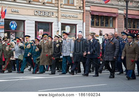 ST. PETERSBURG, RUSSIA - MAY 09, 2017: The governor of St. Petersburg Georgy Sergeyevich Poltavchenko participates in the celebration of the Victory Day