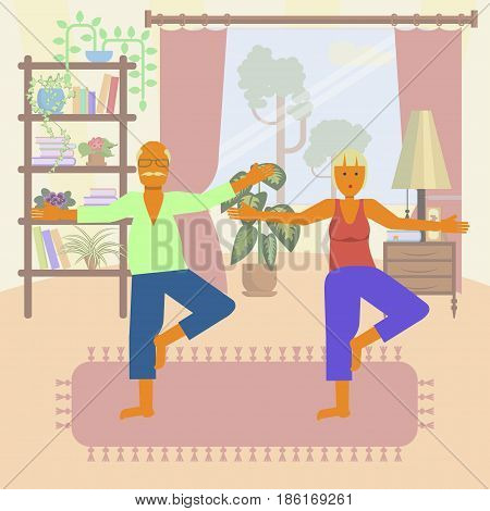 Elderly people doing exercises. Healthy active lifestyle retiree. Sport for grandparents, elder fitness, yoga for Seniors isolated on white background. Vector illustration eps10