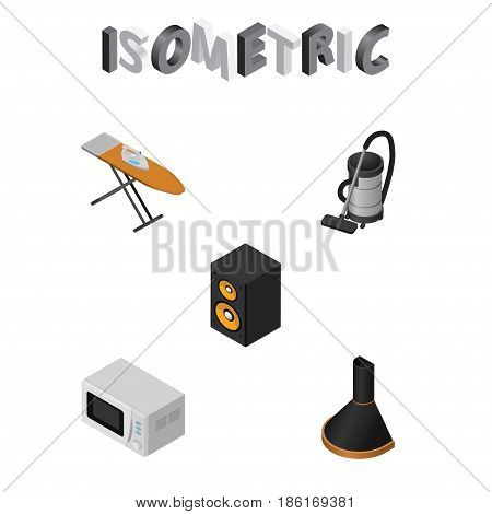 Isometric Appliance Set Of Vac, Music Box, Cloth Iron And Other Vector Objects. Also Includes Loudspeaker, Vacuum, Stove Elements.