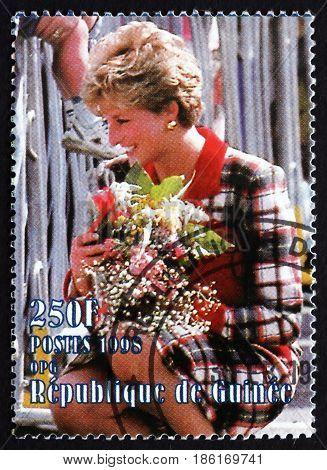 GUINEA - CIRCA 1998: a stamp printed in Guinea shows Diana Princess of Wales Portrait circa 1998
