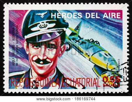 EQUATORIAL GUINEA - CIRCA 1977: a stamp printed in Equatorial Guinea shows Adolf Galland German Luftwaffe General and Flying Ace circa 1977