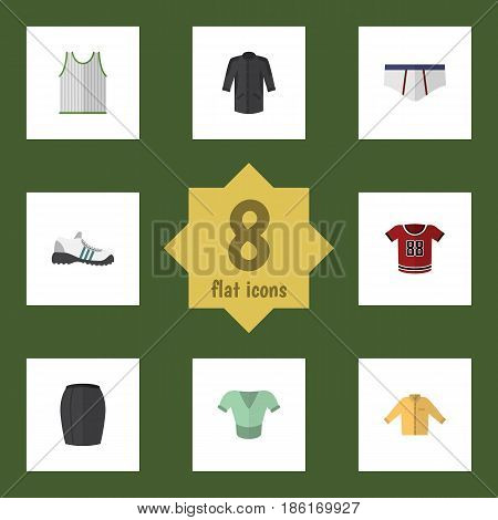 Flat Clothes Set Of Underclothes, Uniform, Stylish Apparel And Other Vector Objects. Also Includes Gumshoes, Banyan, Clothes Elements.