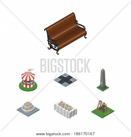 Isometric City Set Of Sitting, Seesaw, Carousel And Other Vector Objects. Also Includes Bench, Monument, Crossroad Elements.