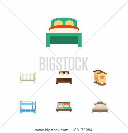 Flat Bed Set Of Cot, Crib, Furniture And Other Vector Objects. Also Includes Mattress, Crib, Child Elements.