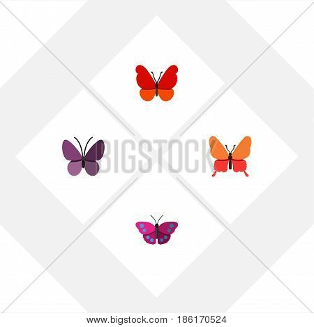Flat Butterfly Set Of Violet Wing, Archippus, Danaus Plexippus And Other Vector Objects. Also Includes Moth, Monarch, Summer Elements.