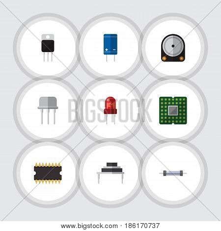 Flat Electronics Set Of Hdd, Transistor, Destination And Other Vector Objects. Also Includes Recipient, Processor, Resist Elements.