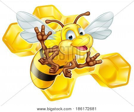 An illustration of a cute cartoon bee mascot character in front of a honeycomb