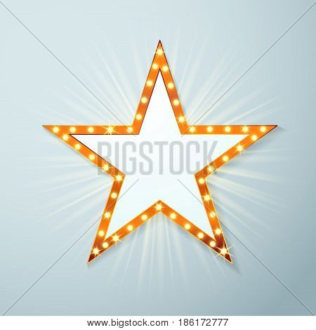 Bright light bulb cinema star symbol layout. Vintage old style casino movie or theater illuminated vivid golden frame. Vector illustration