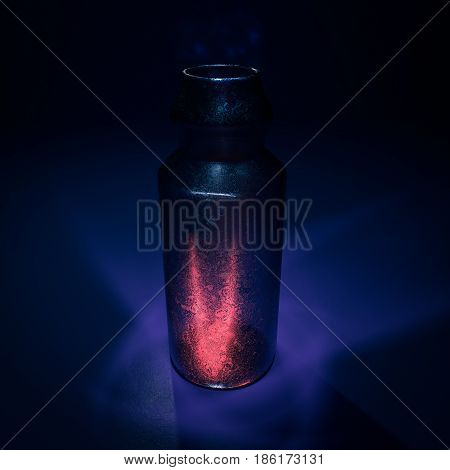 Mysterious elixir potion bottle in dark background