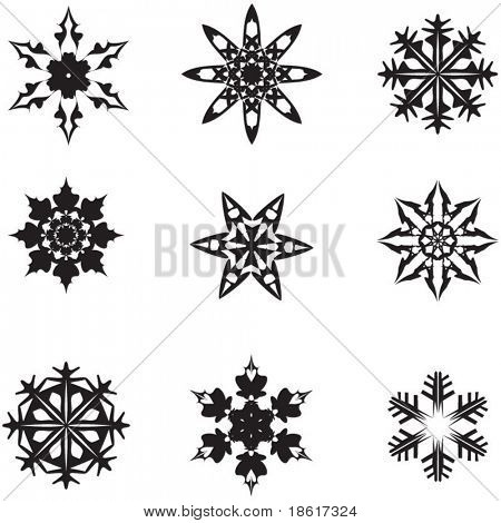 Silhouettes of nine different snowflakes