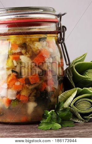 Jar With Variety Of Pickled Vegetables. Carrots, Field Garlic, P