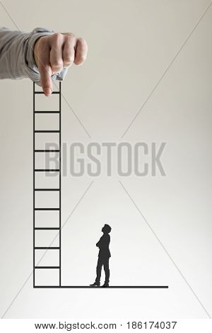 Climbing ladder to success concept with a businessman holding up a ladder between his fingers as a silhouette of a second man stands watching below.