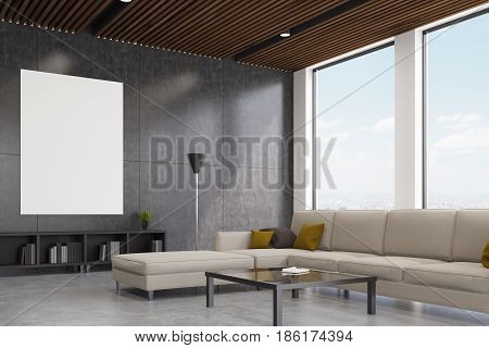 Side view of an interior of a living room with a gray wall tall windows and a white sofa standing near a coffee table. 3d rendering mock up
