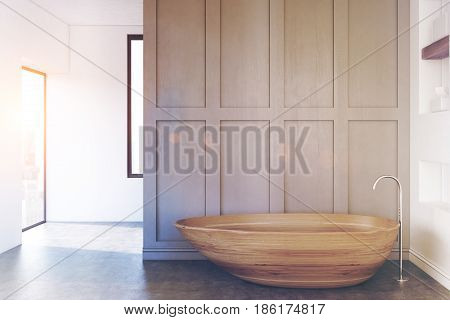 Minimalistic bathroom interior with a gray wall and a wooden bathtub standing near it. 3d rendering mock up toned image