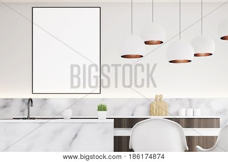 Close up of a marble kitchen interior with a small table two white chairs countertops and a framed vertical poster on a wall. 3d rendering mock up