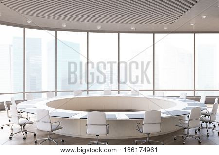 Conference room interior with a round table white office chairs near it and a panoramic window. 3d rendering