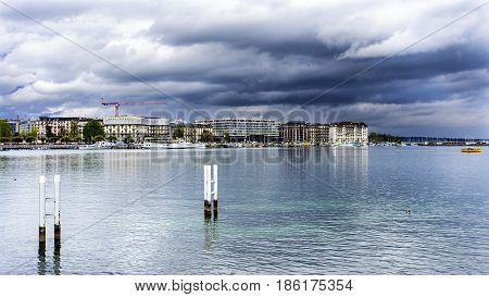 Geneva, Switzerland. April 13, 2016. View Of The Shore Of Lake Leman On The Lake Promenade, From The