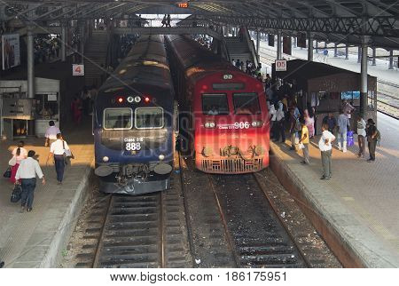 COLOMBO, SRI LANKA - MARCH 26, 2015: At the train station in Colombo