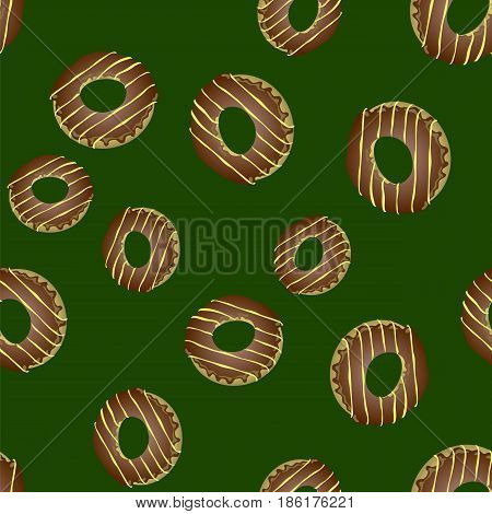 Fresh Sweet Donuts Seamless Pattern on Green Background. Delicios Tasty Glazed Donut. Cream Yummy Cookie.